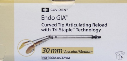 EGIA30CTAVM Covidien Endo Gia Curved Tip Articulating Reloard 30 Mm, Vascular/Medium - Tan Box of 6