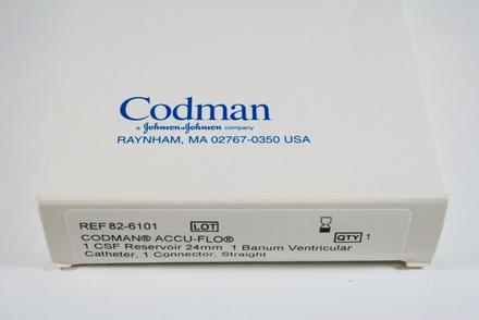 82-6101 Codman Accu-Flo: 1 Csf Reservoir 24Mm, 1 Barium Ventricular Catheter, 1 Straight Connector