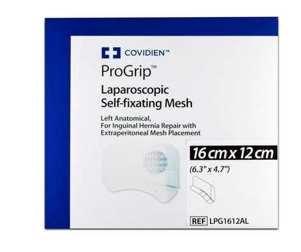 LPG1510AL Covidien Progrip Mesh: Left Anatomical Laparoscopic Self-Fixating Mesh 15.0cm - 10.0cm
