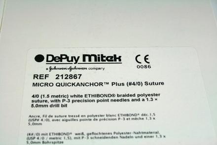 212867 DePuy Mitek Micro Quickanchor Plus (#4/0) Suture