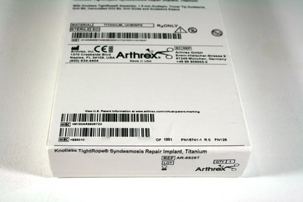 AR-8926T Arthrex Knotless TightRope Syndesmosis Repair Implant, Titanium
