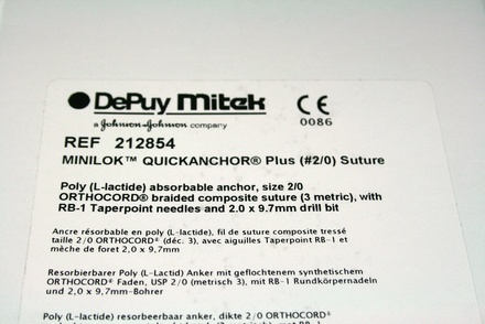 212854 DePuy Mitek MiniLok PLA Absorbable Anchor with Orthocord and Drillbit