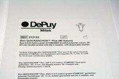 212133 DePuy Mitek Mini Quickanchor Plus #0 Ethibond with OS-2 needles and inserter