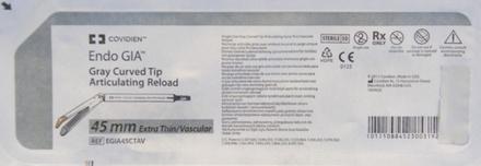 EGIA45CTAV Covidien Endo Gia Each Curved Tip Articulating Reloard 45 Mm, Vascular- Gray