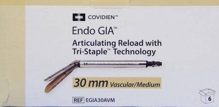 EGIA30AVM Covidien Endo Gia Articulating Tri-Staple 30 Mm Reload Vascular/Medium - Tan Box of 6