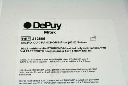 212865 DePuy Mitek Micro Quickanchor Plus (#3/0) Suture